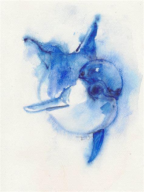 watercolor animal tattoo dolphin original watercolor animal ooak 25 00
