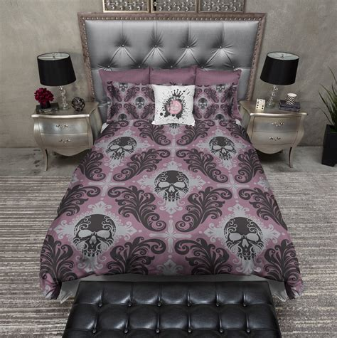 gothic comforter purple gothic damask skull bedding ink and rags