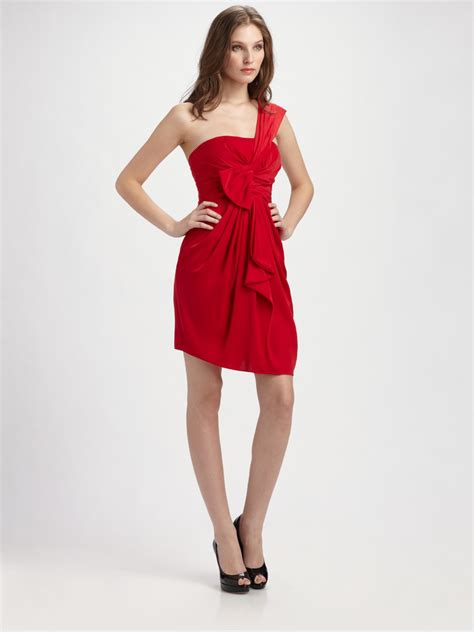 draped one shoulder dress bcbgmaxazria one shoulder draped dress in red jewel red