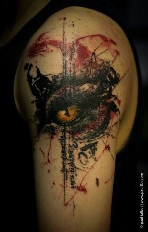 colored trash polka style forearm of seductive great eye pictures tattooimages biz