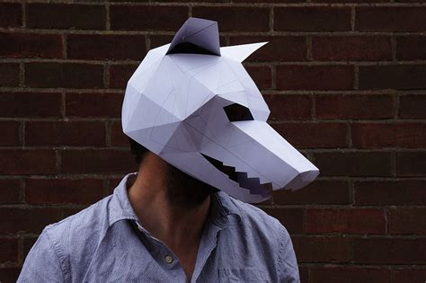 Papercraft Wolf Mask - make your own geometrical papercraft mask boing boing
