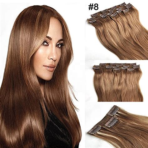 8 inch human hair extensions buy iremy hair 24 inch 8 light brown clip in