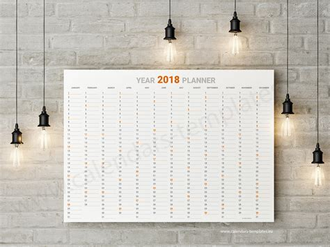 year wall planner template in pdf for 2018 calendar template