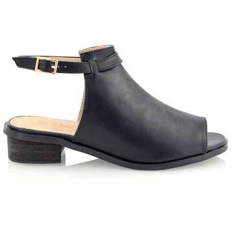 flat heeled shoes womens block low heel flat cut out peep toe ankle