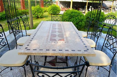 78 94 quot outdoor stone patio dining table mosaic marble