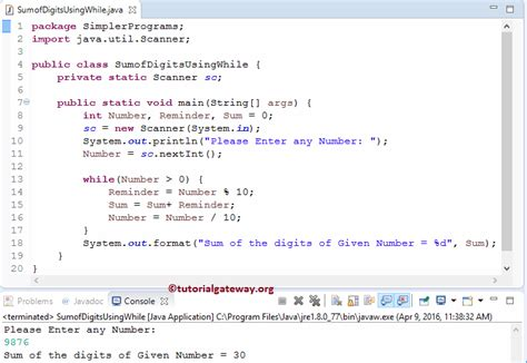 pattern digits java program to find sum of digits in java 1