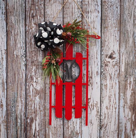 christmas sleigh door hanging wooden door decoration with