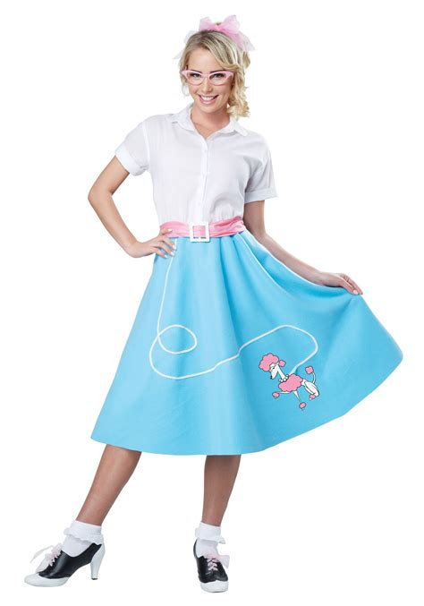 blue 50 s poodle skirt for