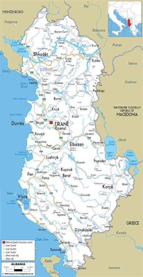 albania map detailed clear large road map of albania ezilon maps