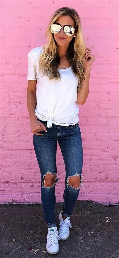 Simple Ripped simple t shirt ripped sneakers fashion