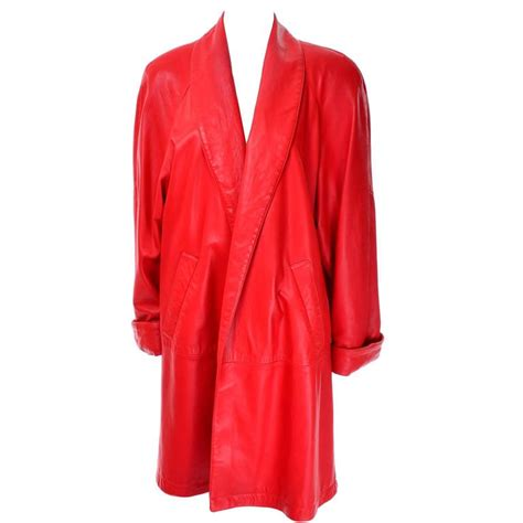 orange swing coat 1980s vakko orange red leather semi swing coat medium