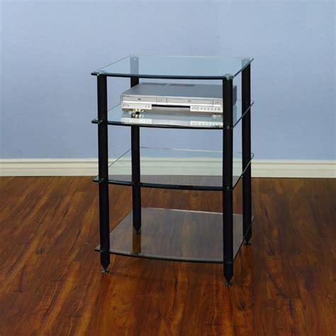 vti rack vti 4 shelf audio rack with glass shelves black agr404b