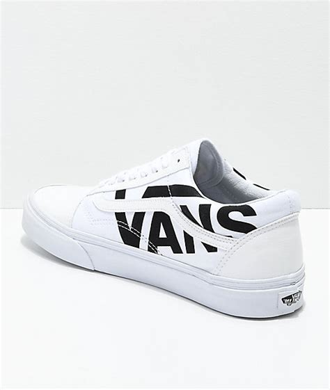 Vans Logo White vans skool black logo white skate shoes zumiez