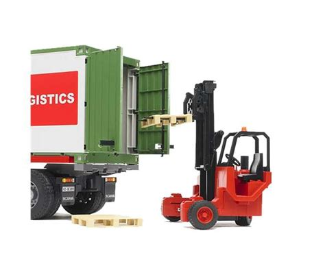 bruder toys scania r series cargo truck with container and forklift 03580 br vminnovations