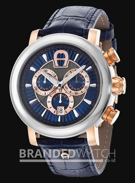 Jam Tangan Aigner Alba Rosegold aigner a37522 bari chronograph blue gold