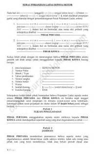 contoh surat perjanjian gadai sepeda motor lengkap surat