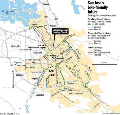 san jose sharks map map san jose bike routes existing and planned the