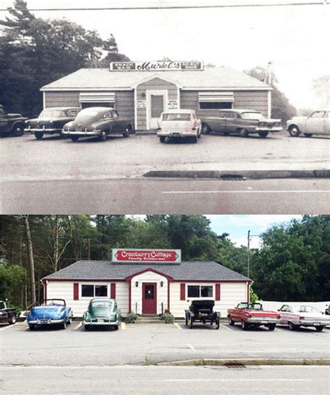 Cranberry Cottage Wareham Ma by Classic Cars Parked For A Then And Now At Cranberry