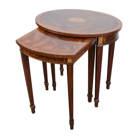 antique nesting tables with inlay 43 off antique reproduction wood nesting side tables