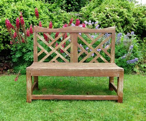 lattice bench lattice backed bench in from the vintage garden company