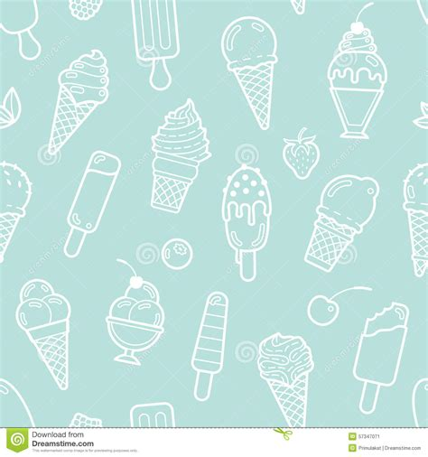 cute mint pattern vector cute mint seamless pattern with ice creams stock