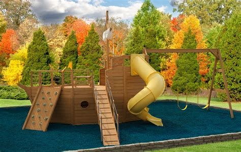 pirate ship backyard playset free wooden swing set plans woodworking projects