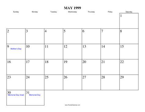 May 1999 Calendar May 1999 Calendar