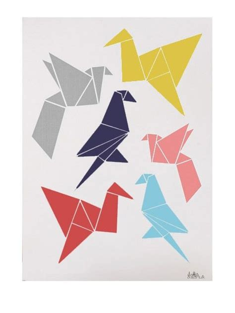 Origami Poster - origami birds poster 50x70cm for the wall