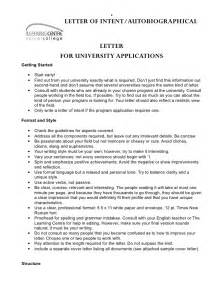 Letter of intent autobiographical letter for university applications