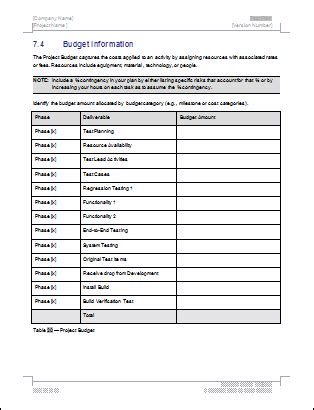 network test plan template test plan ms word excel template