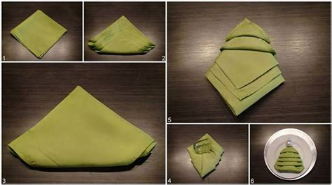 christmas tree napkin fold christmas crafts pinterest