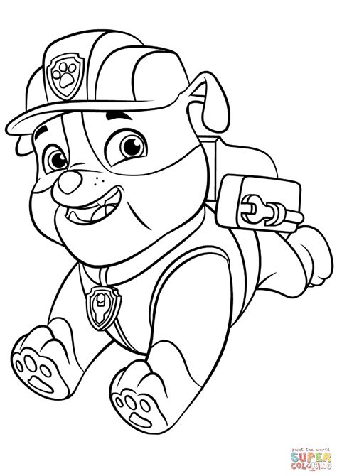 paw patrol coloring pages game paw patrol rubble with backpack coloring page free