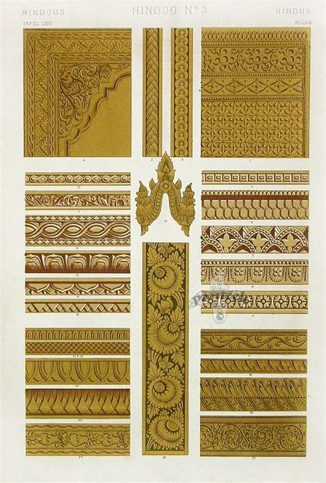 Vintage Poster 40x40cm Motif Kayu 74 antique prints from owen jones the grammar of ornament 1865