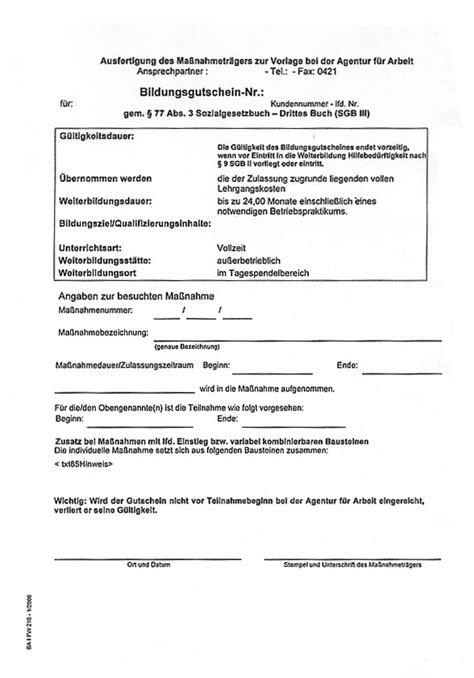 Vorlage Antrag Kostenübernahme Weiterbildung Bfw Friedehorst Bremen Fbw