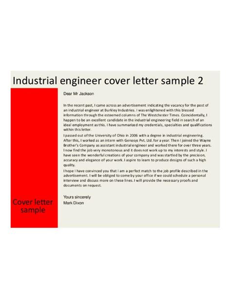 industrial engineering cover letter sles and templates