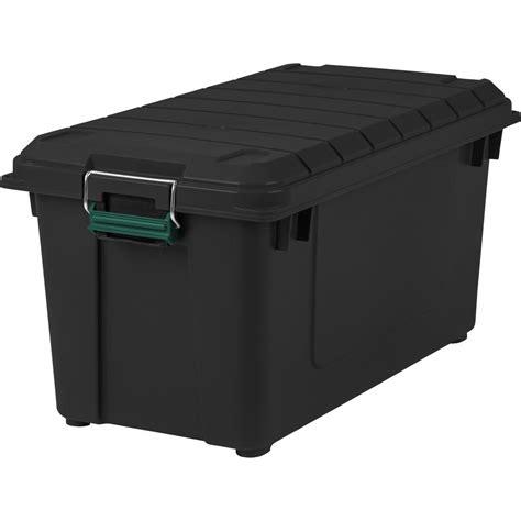 organization bins iris 82 qt remington weather tight store it all storage bin in black 296004 the home depot