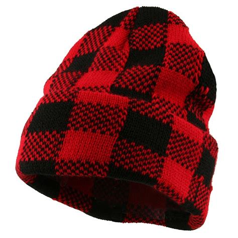 Red Black Buffalo Plaid Cuff Beanie Hat: Cuff Long Beanie