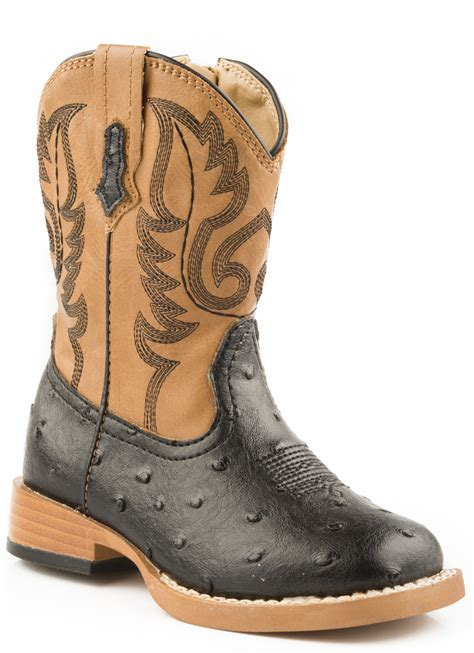 toddler boys cowboy boots roper baby boys infant square toe black faux ostrich