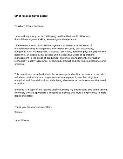 Cover Letter Format For Finance Manager Cover Letter Finance Durdgereport886 Web Fc2