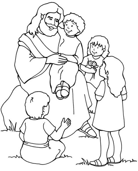 Jesus The Children Coloring Page 918 best images about bible coloring pages on