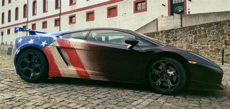 lamborghini gallardo s paint changes into captain america