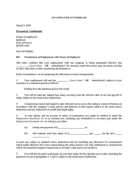 employee termination letter template canada inspiration template