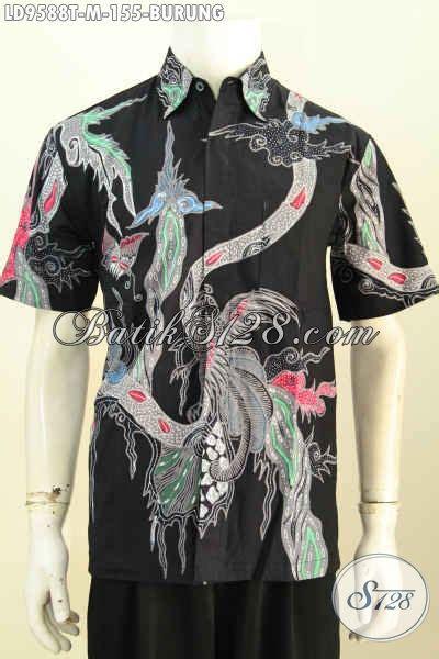 Kemeja Batik Mza03 Lengan Pendek Modern Halus Murah Grosir jual hem lengan pendek batik istimewa baju batik halus proses tulis motif burung hanya