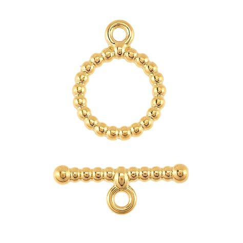 14k yellow gold beaded toggle clasp