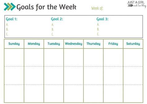weekly goals printable printable