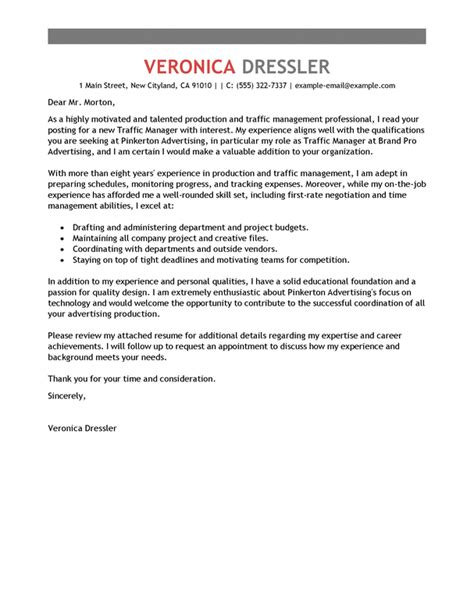 Print Producer Cover Letter by Best Traffic And Production Manager Cover Letter Exles Livecareer
