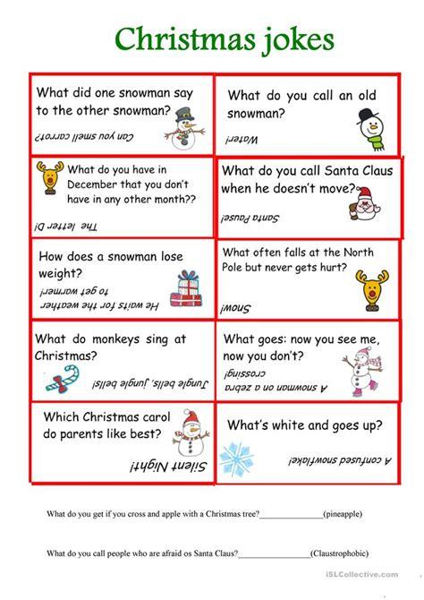 printable sheet of jokes christmas jokes worksheet free esl printable worksheets