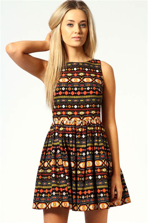 aztec pattern clothes boohoo faye aztec cut out back detail skater dress in