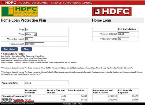 loan information 2012 hdfc housing loan