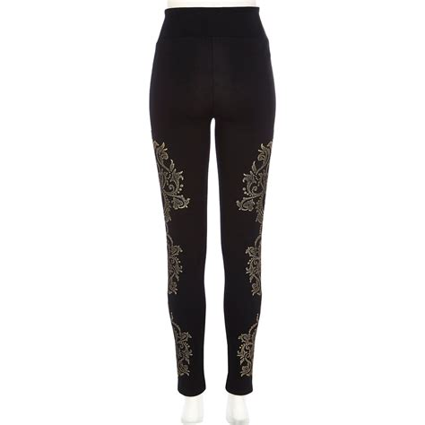 patterned tights river island river island black beaded leggings in black lyst